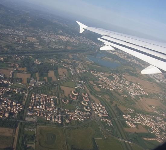飛行機からフィレンツェの風景