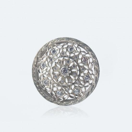フィレンツェ透かし彫りのダイヤブローチ