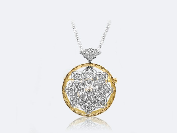 フィレンツェ透かし彫りのダイヤペンダント