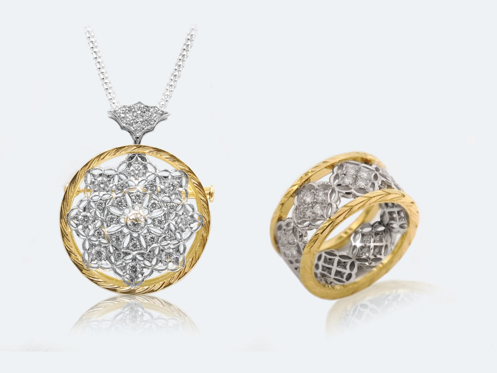 フィレンツェ透かし彫りのダイヤペンダントとリング