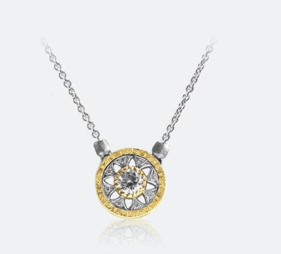 フィレンツェ透かし彫りのダイヤネックレス